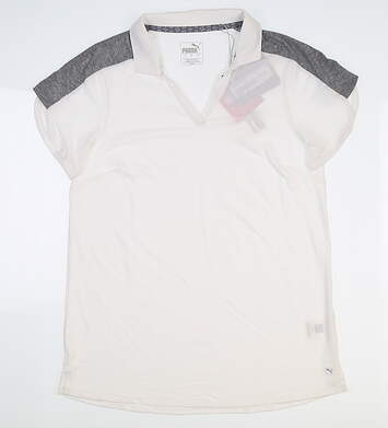 New Womens Puma Petal Golf Polo Small S White 595481 02 MSRP $60