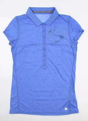 New Womens Puma Slim Stretch Golf Polo Small S Blue Glimmer 595135 04 MSRP $60