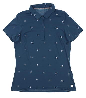 New Womens Puma Ditsy Golf Polo Small S Gibraltar Sea 595482 01 MSRP $60