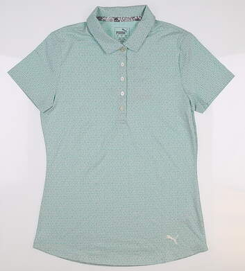New Womens Puma Swift GolfPolo Small S Blue Turquoise 577922 MSRP $55