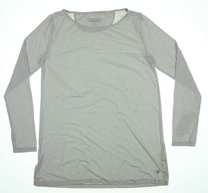 New Womens Straight Down Long Sleeve Crew Neck Small S Gray W14239 MSRP $68