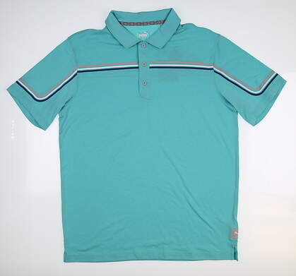 New Mens Puma Looping Polo Medium M Blue Turquoise 595111 06 MSRP $70