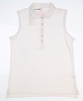 New Womens Peter Millar Sleeveless Golf Polo Large L White LS16EK02 MSRP $76