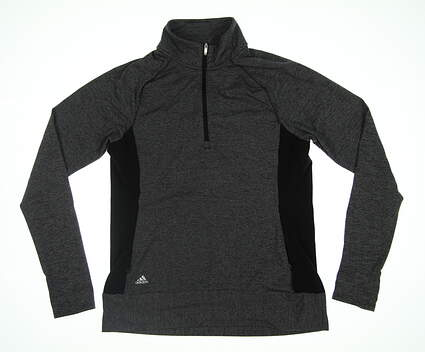 New Womens Adidas 1/4 Zip Golf Pullover Small S Black MSRP $65