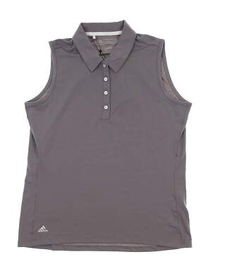 New Womens Adidas Sleeveless Golf Polo Small S Gray BC7317 MSRP $65