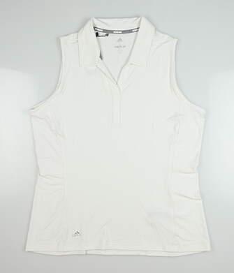 New Womens Adidas Sleeveless Range Wear Polo Large L White CE3022 MSRP $65