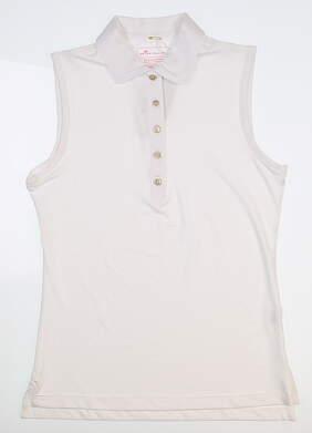 New Womens Peter Millar Sleeveless Golf Polo Medium M White LC0EK02 MSRP $75