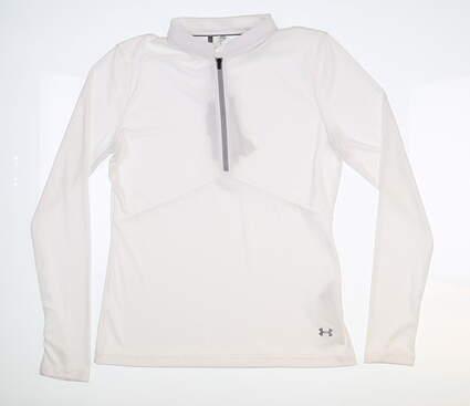 New Womens Under Armour 1/4 Zip Golf Pullover Medium M White UW1435 MSRP $75