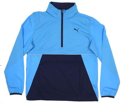 New Mens Puma 1/2 Zip Wind Jacket Medium M Bleu Azur 577896 MSRP $90