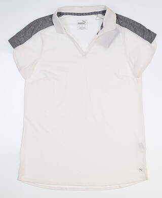 New Womens Puma Petal Golf Polo Small S White 595481 MSRP $60