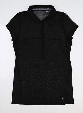 New Womens Puma Slim Stretch Golf Polo Small S Black 595135 MSRP $60