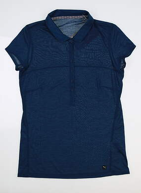 New Womens Puma Slim Stretch Golf Polo Small S Gibraltar Sea 595135 MSRP $60