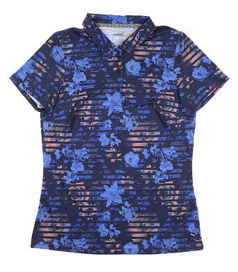 New Womens Puma Floral Stripe Golf Polo Small S Peacoat 595138 MSRP $60