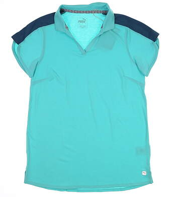 New Womens Puma Petal Golf Polo Small S Blue Turquoise 595481 MSRP $60