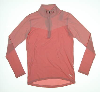 New Womens Puma Evoknit 1/4 Zip Golf Pullover Small S Pale Pink 577939 MSRP $75