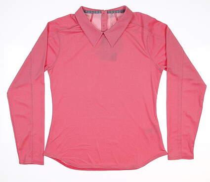 New Womens Puma Long Sleeve Golf Polo Small S Azalea 595133 MSRP $65