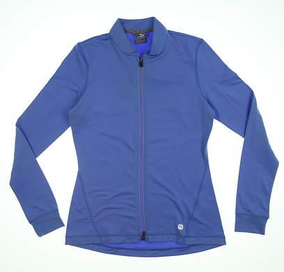 New Womens Puma Full Zip Knit Golf Jacket Small S Blue Glimmer 595447 MSRP $70
