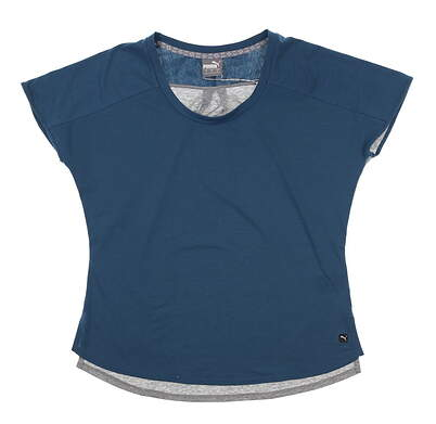 New Womens Puma Tides Tee Small S Gibraltar Sea 595573 03 MSRP $50