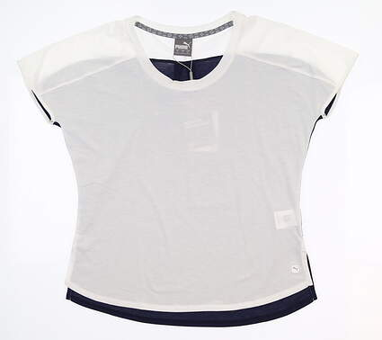 New Womens Puma Tides Tee Small S Bright White 595573 04 MSRP $50