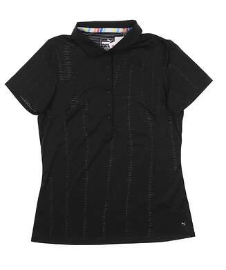 New Womens Puma Sheer Stripe Polo Small S Puma Black 595826 01 MSRP $55
