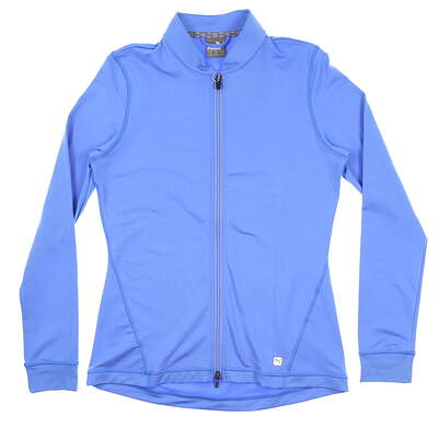 New Womens Puma Full Zip Knit Jacket Small S Blue Glimmer 595447 04 MSRP $70