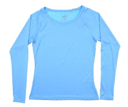 New Womens Puma Long Sleeve Sun Crew Small S Ethereal Blue 577901 04 MSRP $60
