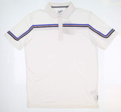 New Mens Puma Looping Golf Polo Medium M White 595111 MSRP $70