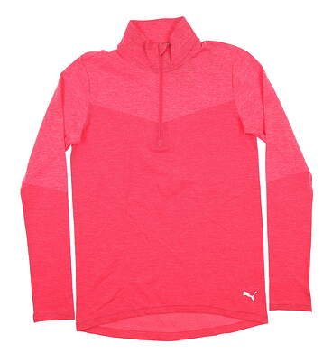 New Womens Puma 1/4 Zip Golf Pullover Small S Pink 577939