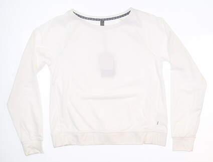 New Womens Puma Crew Neck Golf Fleece Small S White 595161 MSRP $60