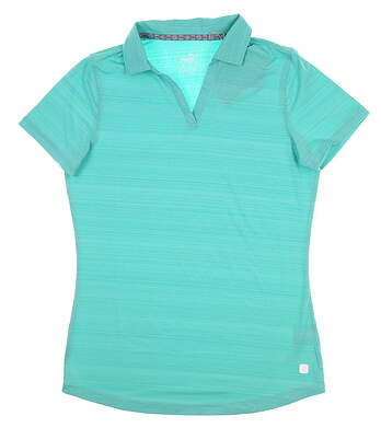 New Womens Puma Coastal Golf Polo Small S Blue Turquoise 595136 MSRP $55