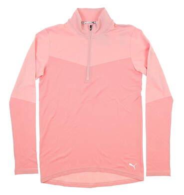 New Womens Puma Evoknit 1/4 Zip Golf Pullover Small S Bridal Rose 577939 MSRP $75