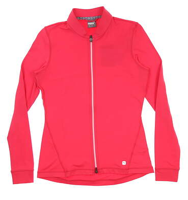 New Womens Puma Full Zip Knit Golf Jacket Small S Azalea 595447 MSRP $70