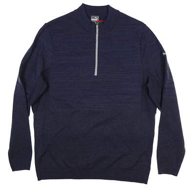 New Mens Puma Evoknit 1/4 Zip Sweater Medium M Peacoat Heather 595125 MSRP $95