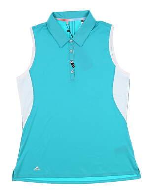 New Womens Adidas Sleeveless Golf Polo Medium M Teal BC6734 MSRP $64