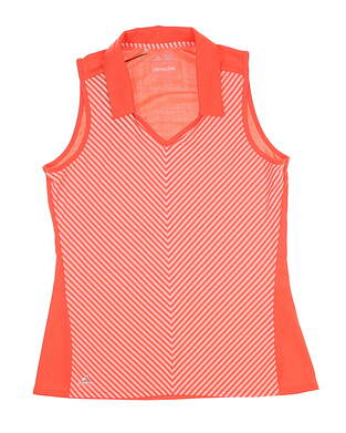New Womens Adidas Climachill Sleeveless Golf Polo Small S Orange BC1752 MSRP $65