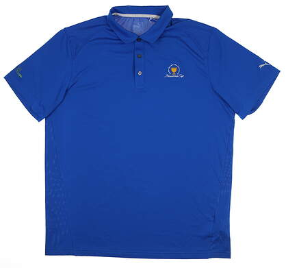 New W/ Logo Mens Puma Pounce Solid Polo Large L Blue 570463 27 MSRP $60
