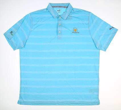 New W/ Logo Mens Puma Pounce Stripe Polo Large L Aqua 572350 14 MSRP $63