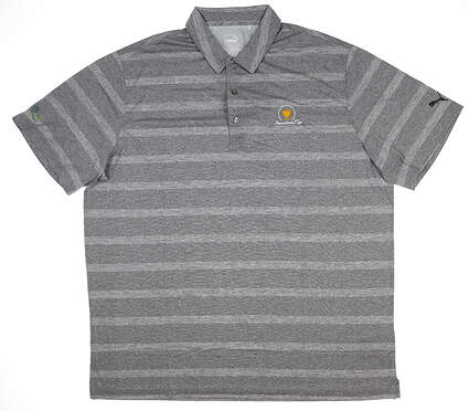 New W/ Logo Mens Puma Pounce Stripe Polo Large L Gray 572350 05 MSRP $63