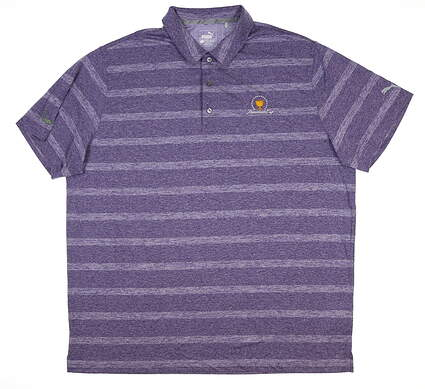 New W/ Logo Mens Puma Pounce Stripe Polo Large L Violet 572350 15 MSRP $60