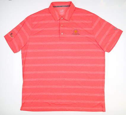 New W/ Logo Mens Puma Pounce Stripe Polo XXX-Large XXXL Coral 572350 MSRP $63