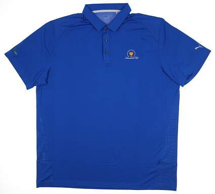 New W/ Logo Mens Puma Pounce Solid Polo Medium M Blue 570463 27 MSRP $60