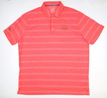 New W/ Logo Mens Puma Pounce Stripe Polo Large L Coral 572350 13 MSRP $63