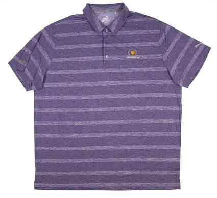 New W/ Logo Mens Puma Pounce Stripe Polo Large L Purple 572350 15 MSRP $63