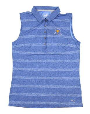 New W/ Logo Womens Puma Pounce Stripe Sleeveless Polo X-Large Blue 572389 MSRP $60