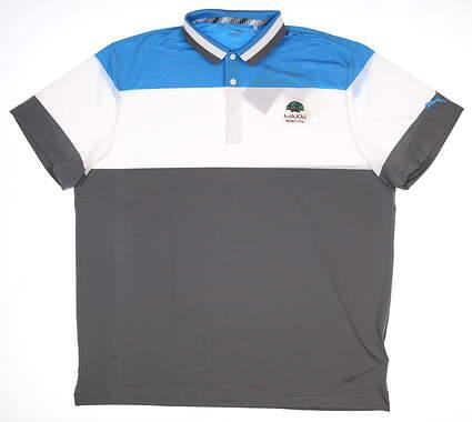 New W/ Logo Mens Puma Nineties Polo Large L Bleu Azur 57892 MSRP $70