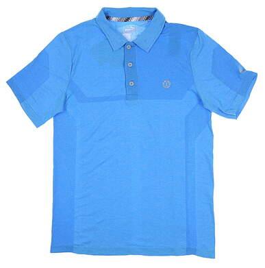 New W/ Logo Mens Puma Evoknit Breakers Polo Large Blue 577399 MSRP $75