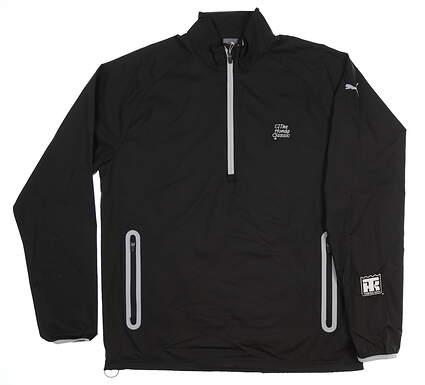 New W/ Logo Mens Puma 1/2 Zip Wind Jacket Large L Black 572297 MSRP $80