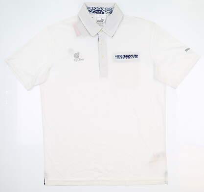New W/ Logo Mens Puma Aloha Polo Large L Bright White 574631 01