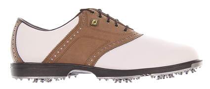 New Mens Golf Shoe Footjoy Superlites Medium 7 White/Brown 58004 MSRP $100