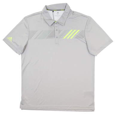 New Mens Adidas 360 Print Polo Medium M Gray DT3611 MSRP $60